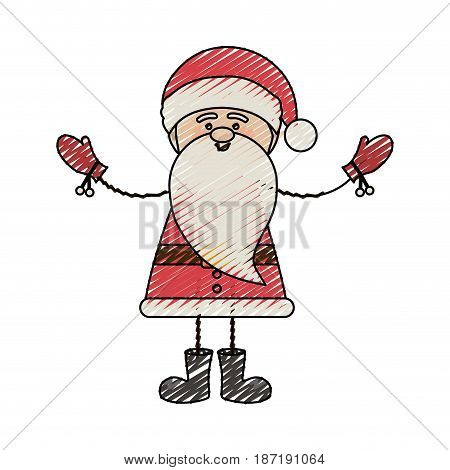 color crayon stripe cartoon of funny santa claus with open arms vector illustration