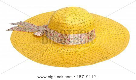 Woman  Hat Isolated On White Background .women's Beach Hat . Yellow Hat