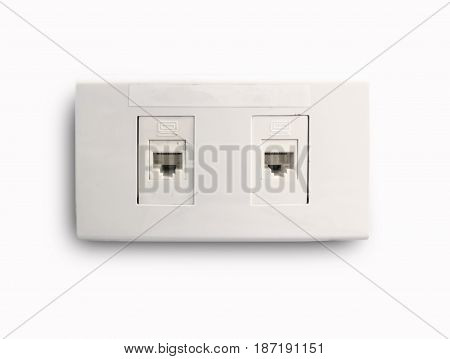 Network Ethernet port in home on white background