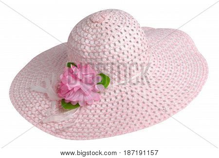 Woman  Hat Isolated On White Background .women's Beach Hat . Pink Hat