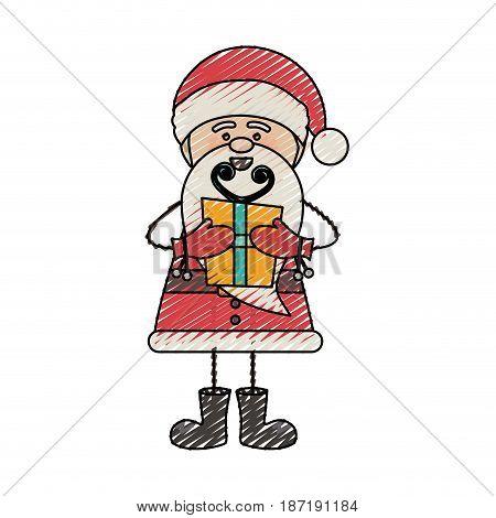 color crayon stripe cartoon of funny santa claus with gift box vector illustration