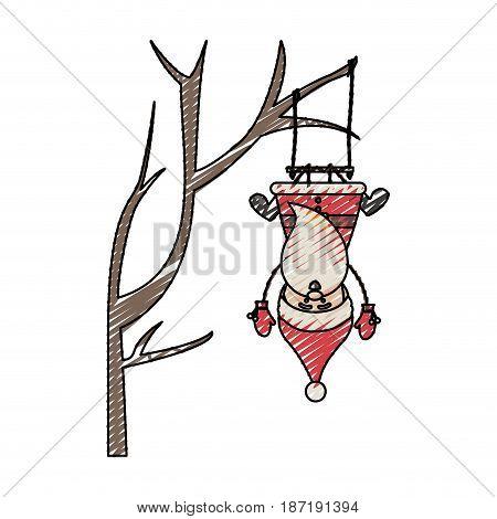 color crayon stripe cartoon of funny santa claus in tree pendant of swing vector illustration