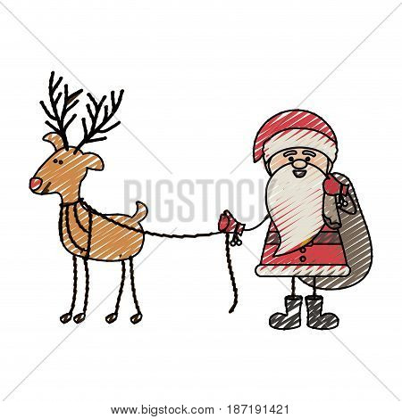 color crayon stripe cartoon of funny santa claus with gift bag and reindeer holding by rope vector illustration