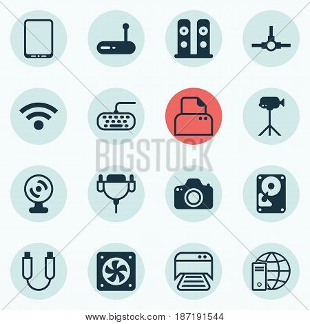 Set Of 16 Computer Hardware Icons. Includes Printed Document, Cellphone, Vga Cord And Other Symbols. Beautiful Design Elements.