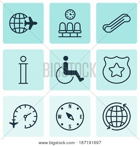 Set Of 9 Transportation Icons. Includes Stair Lift, Cop Symbol, World And Other Symbols. Beautiful Design Elements.