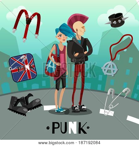 Punk subculture composition including people with flashy appearance and accessories on city background cartoon style vector illustration