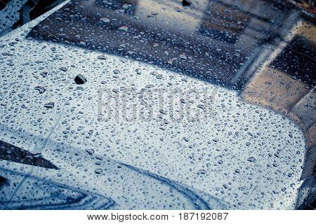 Car Hood With Rain Drop Wet Clean Dark Storm Color Tone In Raining Season.