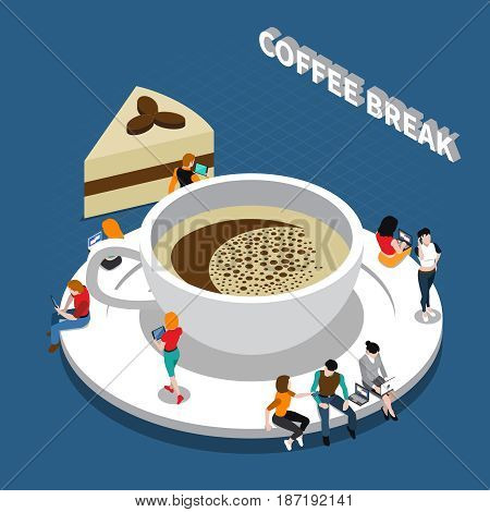 Coffee break isometric composition with cup of drink and people on saucer on blue background vector illustration