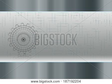 Technological industrial gears background with a pattern and its mirror reflection