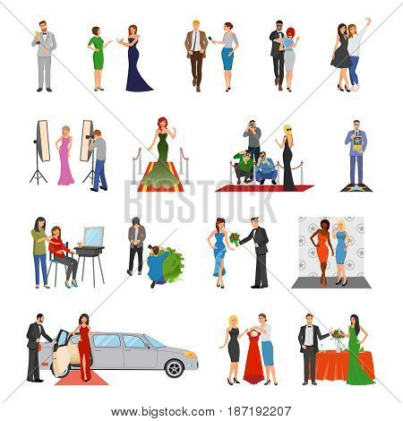 Celebrity flat colored decorative icons with paparazzi photo session stylists banquet  interview elements isolated vector illustration