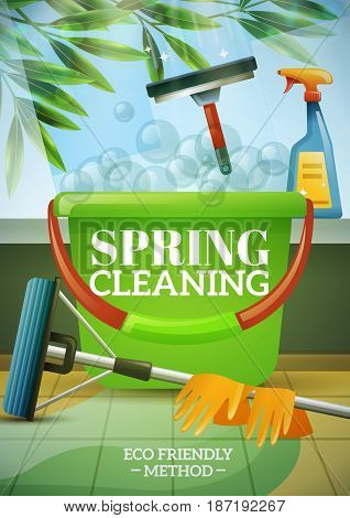 Spring cleaning poster with green branch behind window brush at glass bucket mop and gloves vector illustration