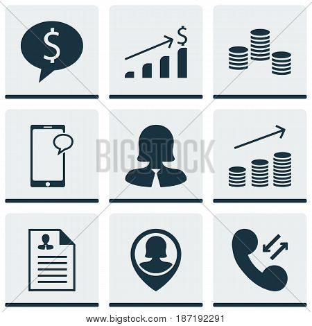 Set Of 9 Hr Icons. Includes Pin Employee, Curriculum Vitae, Cellular Data And Other Symbols. Beautiful Design Elements.