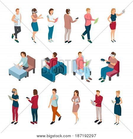 Gadgets people isometric set with isolated human characters during various activities involving portable electronic devices laptops vector illustration