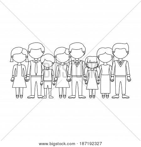 monochrome silhouette with faceless family group with informal clothes vector illustration