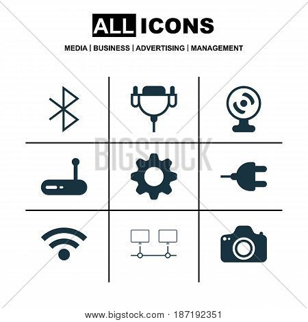 Set Of 9 Computer Hardware Icons. Includes Connected Devices, Vga Cord, Router And Other Symbols. Beautiful Design Elements.