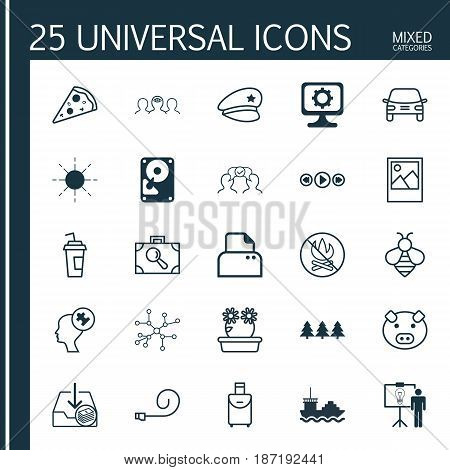 Set Of 25 Universal Editable Icons. Can Be Used For Web, Mobile And App Design. Includes Elements Such As Hdd, Automobile, Baggage Research And More.