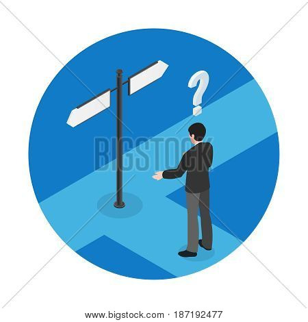 Choice isometric concept with man at crossroads on blue background isometric vector illustration