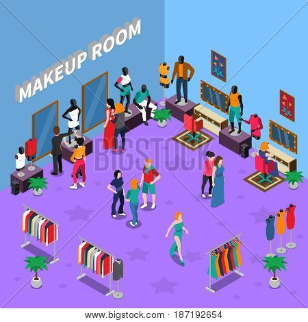 Makeup room with models and assistants mannequins racks with clothing and interior elements isometric vector illustration
