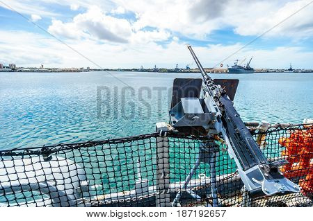 Light artillery gun on the museum battleship USS MIssouri in Pearl Harbor, Hawaii