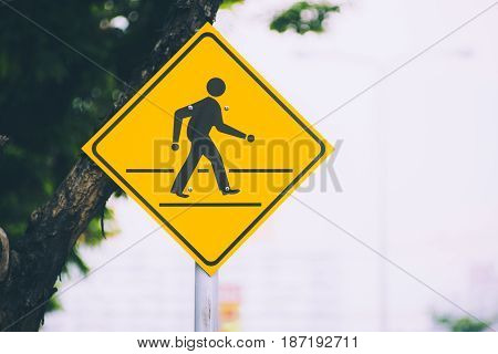 Beware People Single Man Cross The Road Traffic Sign Yellow Color On The Street With Space For Text.