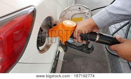 Hand refilling the car with fuel and Backgrund .