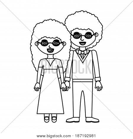 black contour curly couple woman with long hair in dress and man with bowtie and taken hands vector illustration