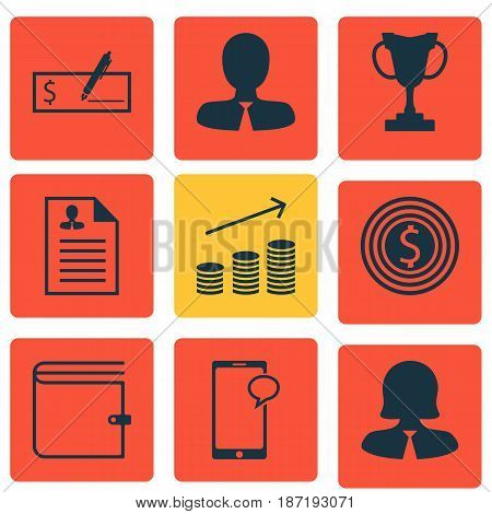 Set Of 9 Management Icons. Includes Coins Growth, Wallet, Tournament And Other Symbols. Beautiful Design Elements.