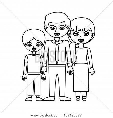 black contour family group in formal suit vector illustration