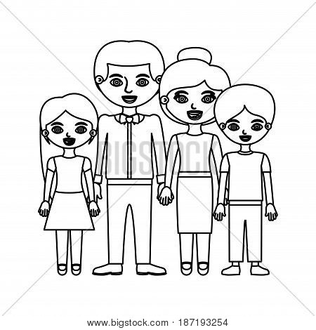 black contour family group in formal suit and taken hands vector illustration