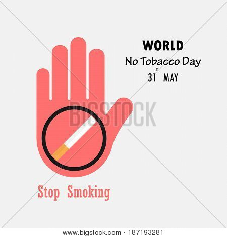 Human hands and Quit Tobacco sign.May 31st World no tobacco day.No Smoking Day Awareness.Vector illustration.