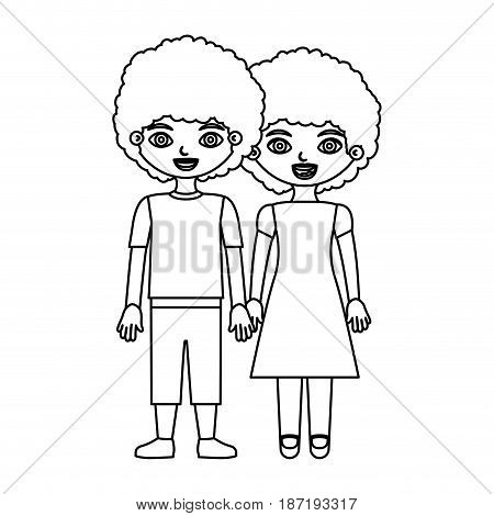 black contour curly couple girl with dress and boy in casual clothing and taken hands vector illustration