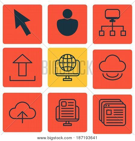 Set Of 9 Web Icons. Includes Data Synchronize, Computer Network, Local Connection And Other Symbols. Beautiful Design Elements.