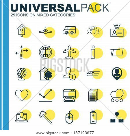 Set Of 25 Universal Editable Icons. Can Be Used For Web, Mobile And App Design. Includes Elements Such As Lorry, Pin Employee, Printed Document And More.
