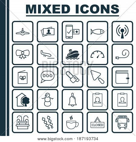 Set Of 25 Universal Editable Icons. Can Be Used For Web, Mobile And App Design. Includes Elements Such As Transport Vehicle, Message Bubble, Calling Card And More.