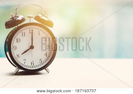 8 O'clock Retro Clock At The Swimming Pool Outdoor Relax Time Holiday Time Concept.