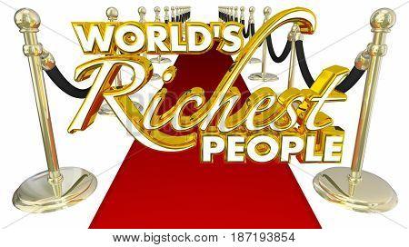 Worlds Richest People Red Carpet Elite Money Wealth 3d Illustration
