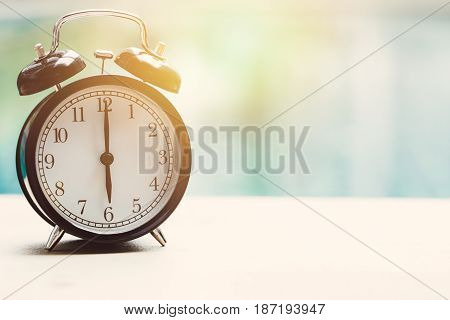 6 O'clock Retro Clock At The Swimming Pool Outdoor Relax Time Holiday Time Concept.