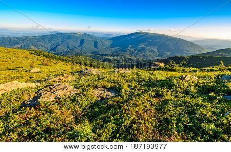 Huge Boulders On Meadow On Top Of Mountain Ridge