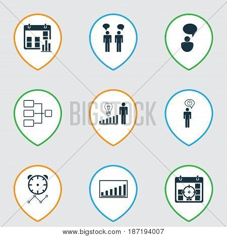 Set Of 9 Board Icons. Includes System Structure, Team Meeting, Opinion Analysis And Other Symbols. Beautiful Design Elements.