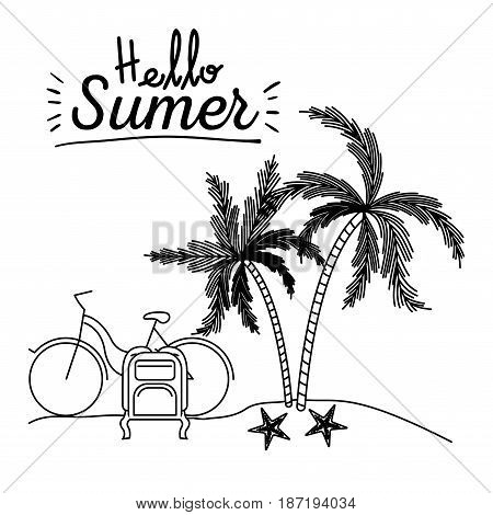monochrome poster of hello summer with landscape in beach with bike and luggage next to palm trees vector illustration