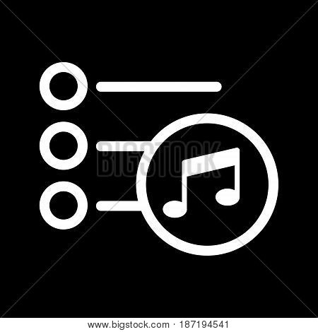 Playlist icon vector. Isolated on black background. eps 10