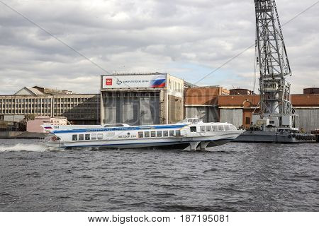 Saint Petersburg, Russia,may 03, 2017:The ship  is moving along the Neva River