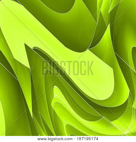 Abstract techno background with lines in waves. Fractal art.