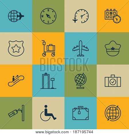 Set Of 16 Travel Icons. Includes World, Travel Clock, Video Surveillance And Other Symbols. Beautiful Design Elements.