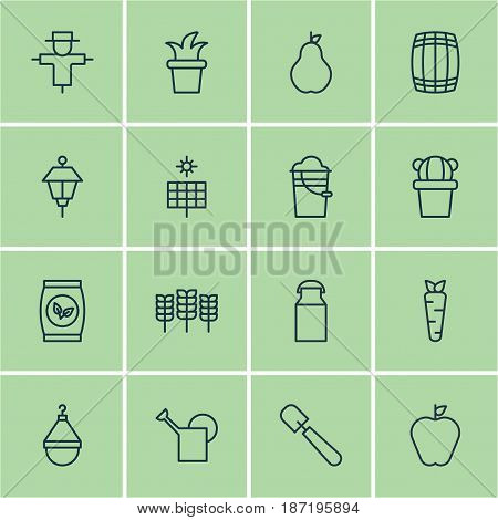 Set Of 16 Farm Icons. Includes Bush Pot, Root, Desert Plant And Other Symbols. Beautiful Design Elements.