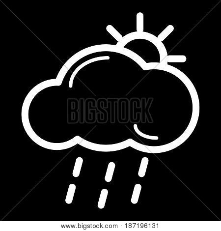 lightning rain cloud sun meteo icon. Weather icon on black background. eps 10