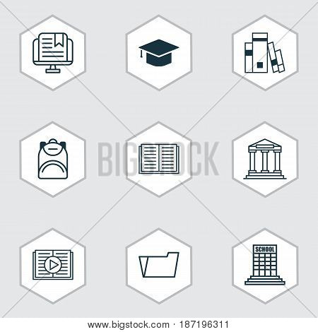 Set Of 9 School Icons. Includes Library, Graduation, E-Study And Other Symbols. Beautiful Design Elements.