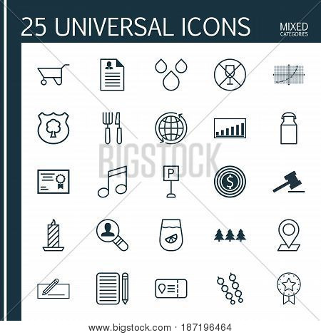 Set Of 25 Universal Editable Icons. Can Be Used For Web, Mobile And App Design. Includes Elements Such As Pinpoint, Holiday Ornament, Gavel And More.