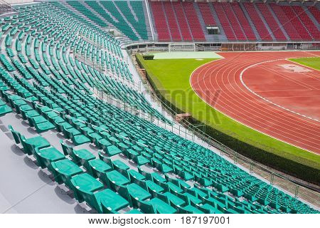 Bangkok, Thailand - August 22, 2015 : Thailand Bangkok National Sport Stadium Seat With Part Of Runn