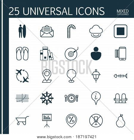 Set Of 25 Universal Editable Icons. Can Be Used For Web, Mobile And App Design. Includes Elements Such As Alcohol Forbid, Seafood Skeleton, Surf-Board And More.